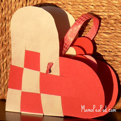 woven paper swedish heart basket craft