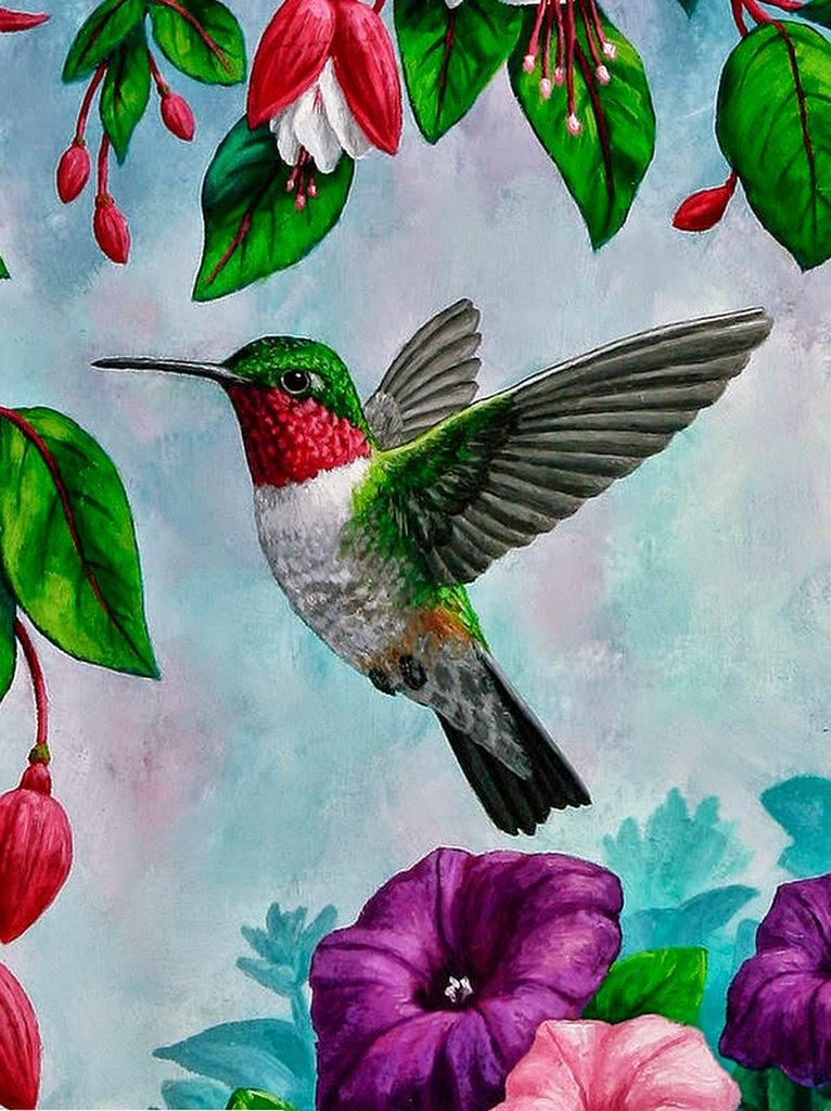 pinturas-de-flores-y-pajaros