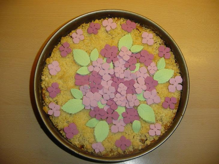 Peren-taart van Paula met hortensiabloemetjes