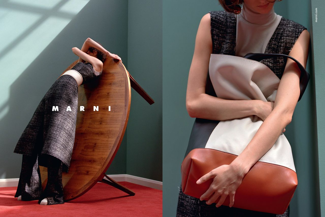 Marte Mei van Haaster in Marni Fall/Winter 2015 campaign (photography: Jackie Nickerson, styling: Lucinda Chambers, set designer: Shona Heath, hair: Sam McKnight, makeup: Tom Pecheux) / best fashion ad campaigns fall/winter 2015 / via fashioned by love british fashion blog