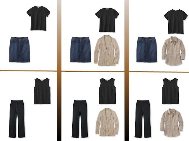 """six outfits with a black tee shirt or tank top and """"Whatever's Clean"""" for summer"""