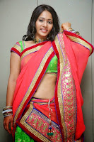 Mithraw looks Super Cute in Red Sindoori Half Saree and Green Choli Lovely Pics