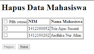 Menghapus Data Record dengan Multiple Selection – PHP