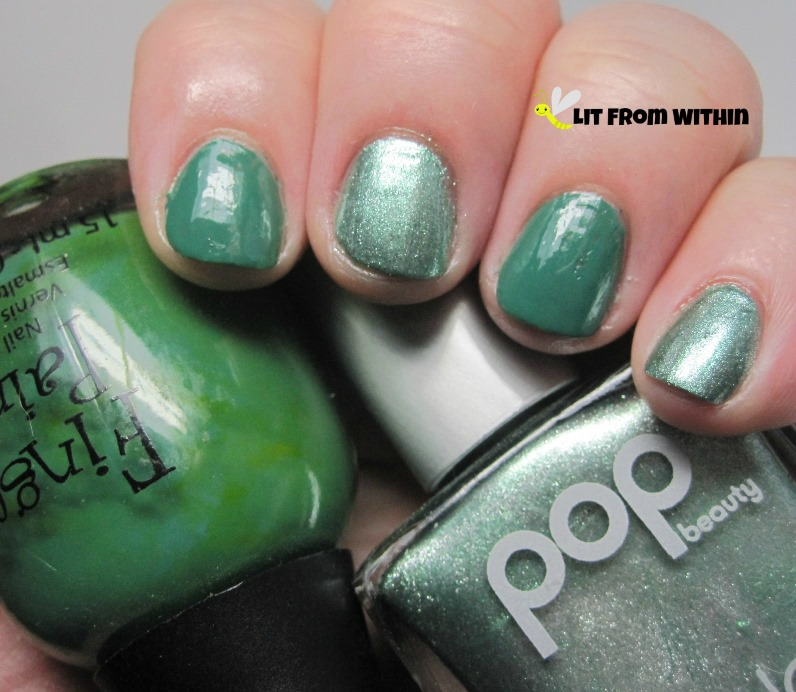 alternating greens in Finger Paints Go Van Gogh! and Pop Jade Metal