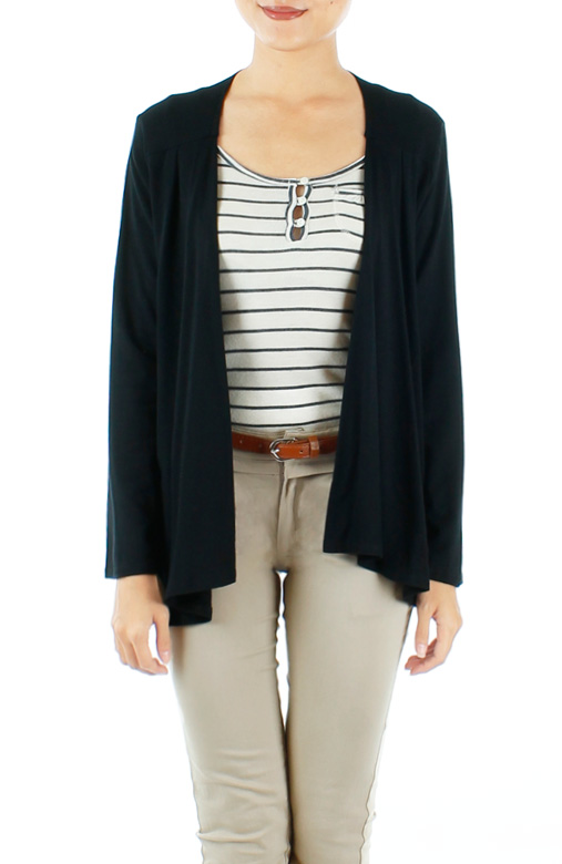 Black Waterfall Drape Cardigan with Pleat Detailing
