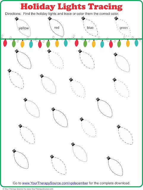 Christmas Bulb Worksheet : Holiday lights tracing freebie your therapy source