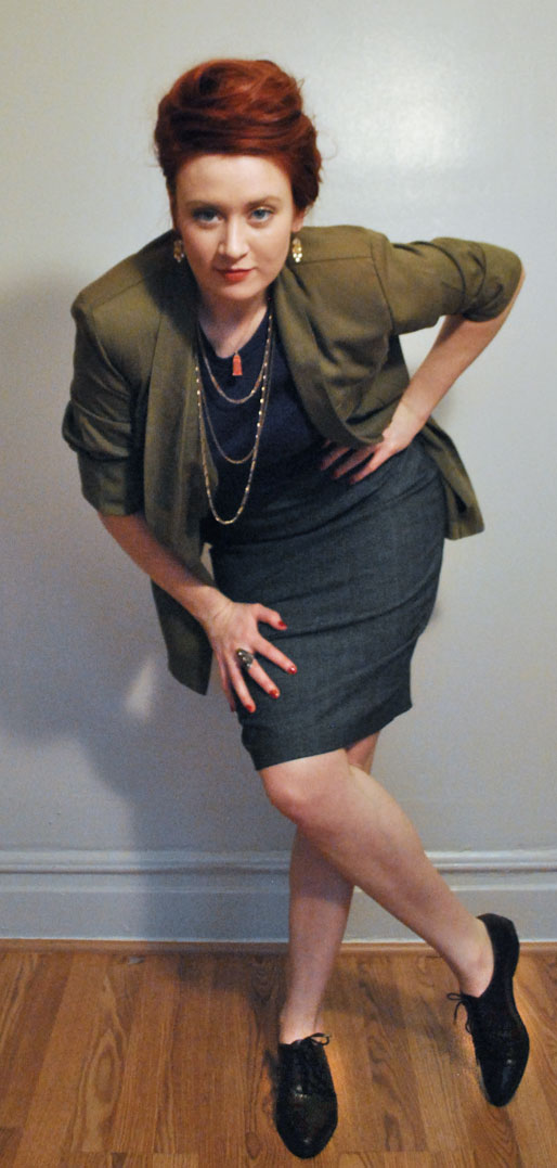 a style of your own blog, Target gray pencil skirt, army green jacket, J crew tee, j crew earrings