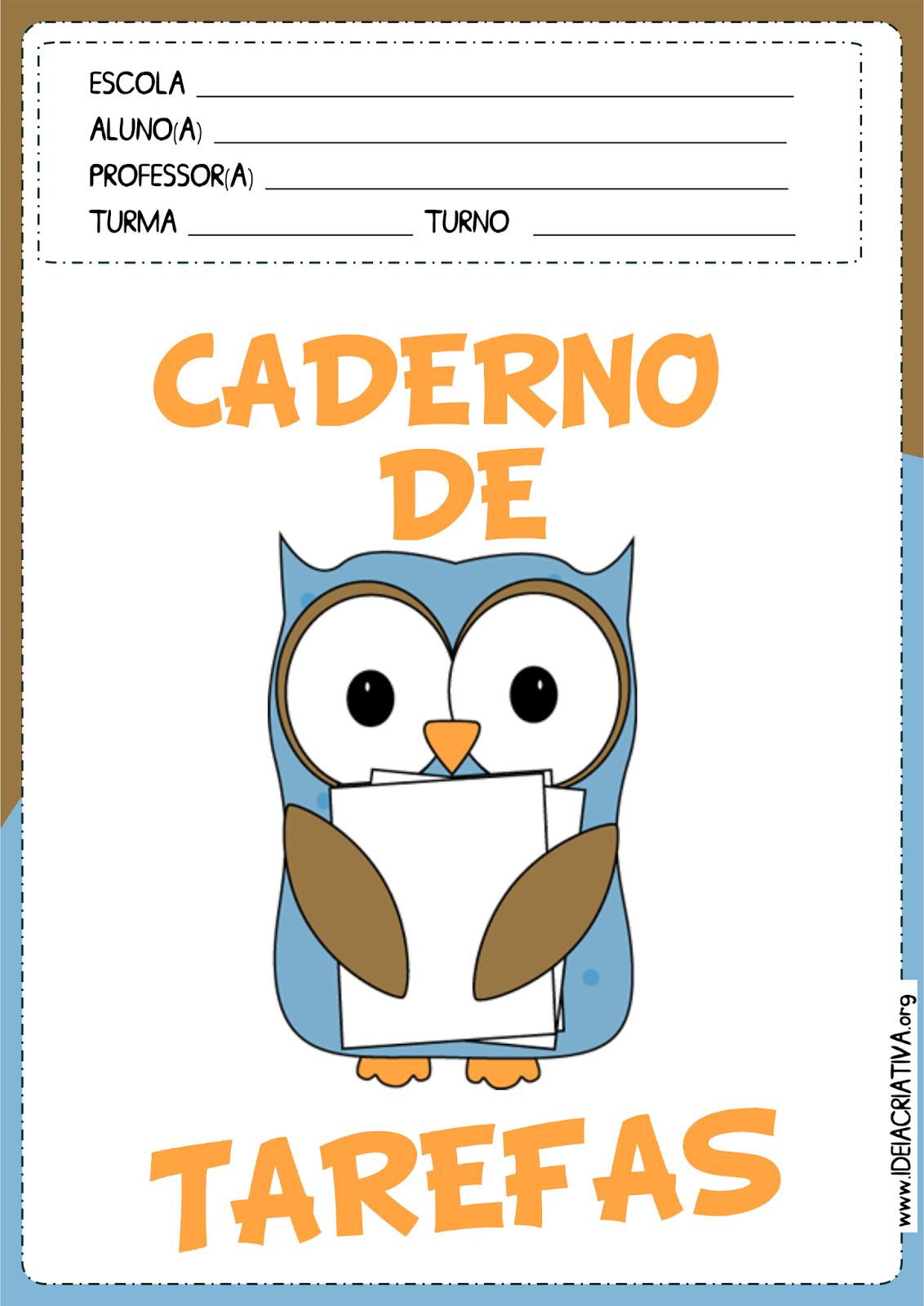 Capas para Caderno Corujinhas