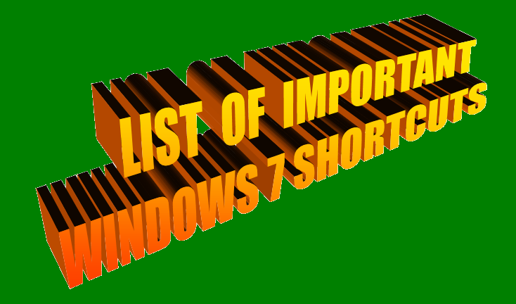 Windows 7- Very Important, Useful 60 Short cuts