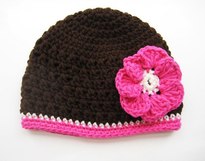 Crochet Patterns Infant Hats : ... Beanie with Flower, Crochet Pattern (all sizes from newborn to adult
