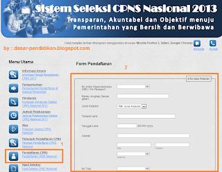 cara daftar CPNS 2013 via online
