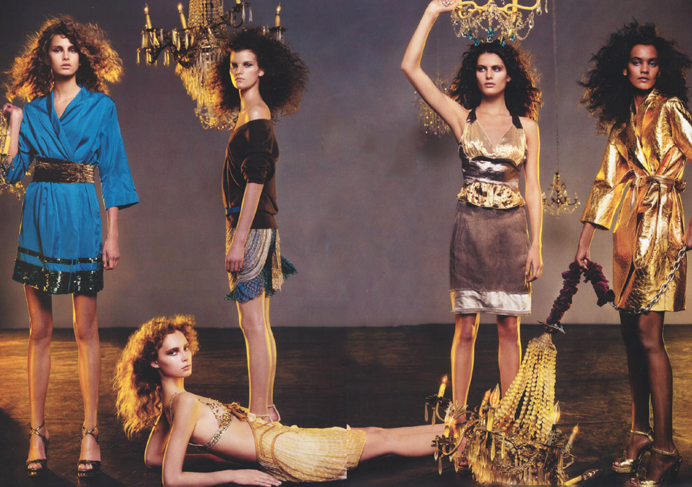 Hana Soukupova, Madeleine Blomberg, Isabeli Fontana, Liya Kebede, Tiiu Kirk, Louis Vuitton Spring/Summer 2004 collection photographed by Steven Meisel for Personal velocity / Vogue US March 2004 via fashioned by love british fashion blog