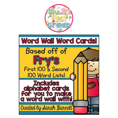 https://www.teacherspayteachers.com/Product/Word-Wall-Word-Cards-Frys-First-100-Second-100-Words-with-ABC-Headings-2058160