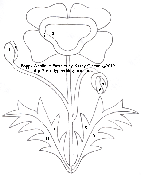 Poppy Applique Pattern by Kathy Grimm title=
