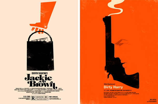 Posters de Cinema minimalistas - Olly Moss - Jackie Brown - Dirty Harry