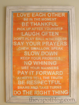 subway art, orange, distressed, color, family rules, tutorial