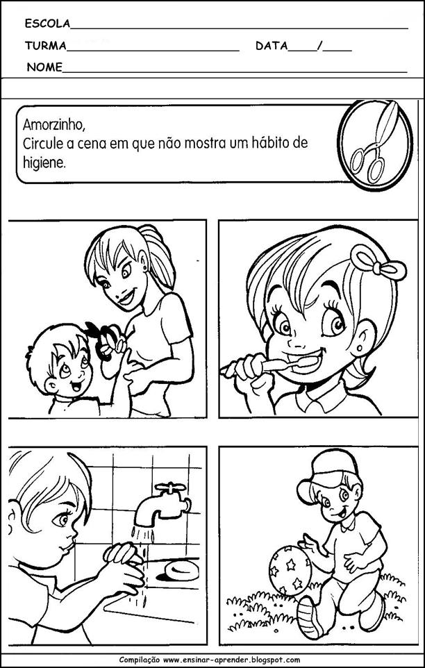 atividades higiene corporal cuidados com o corpo desenhos para