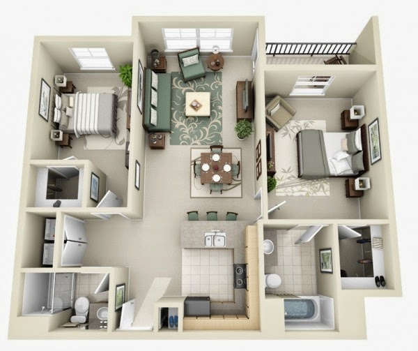 Bedroom Apartment House Plans Part 2 FREE STUFFS FOR SKETCHUP