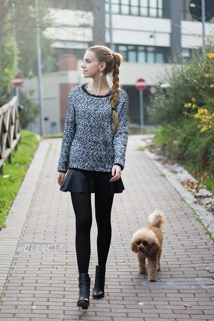 fluffy sweater, furry jumper, leather skirt, fall fashion, outfit, black and white