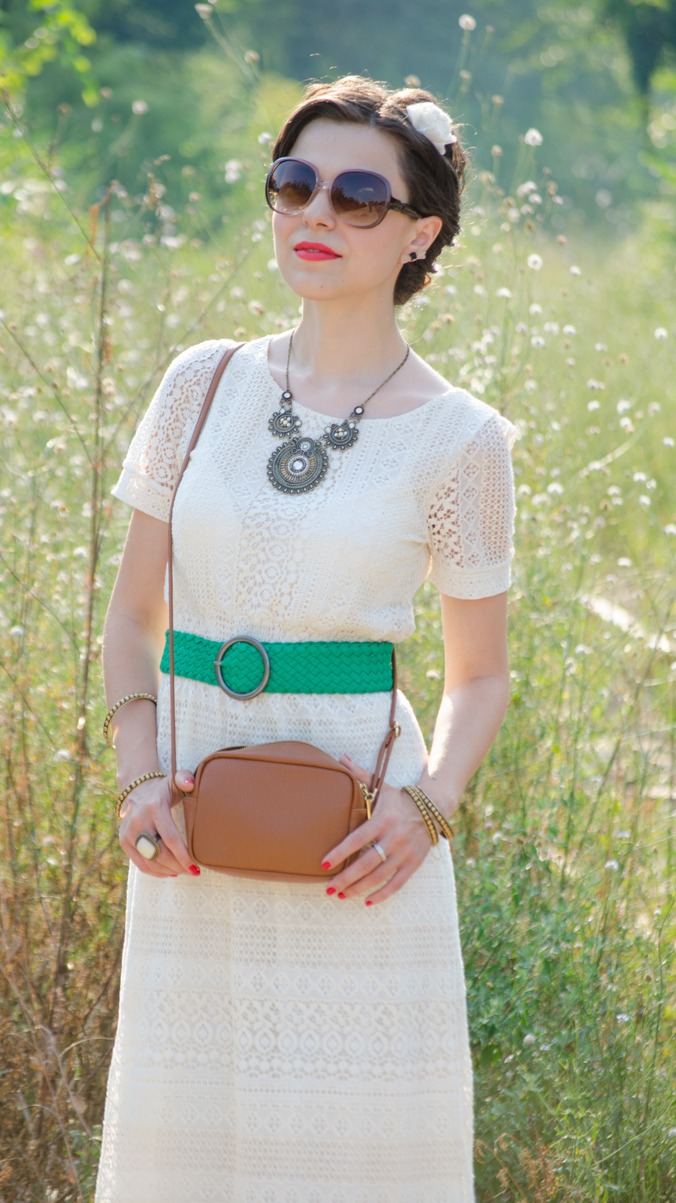boho chic cotton lace dress koton green belt strap green nude shoes statement necklace h&m small brown satchel ivory