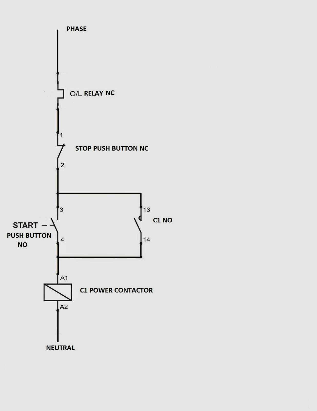 Direct Online Starter Control Circuit