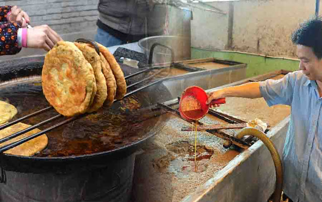 street foods and restaurants are likely using recycled oil from sewers to cook food served on you