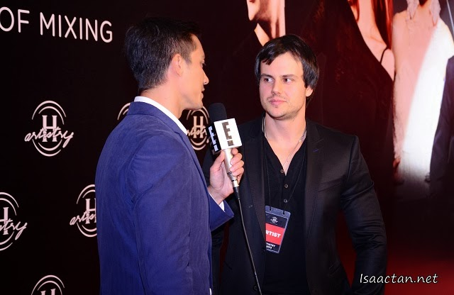 One of the performers that night being interviewed at the red carpet