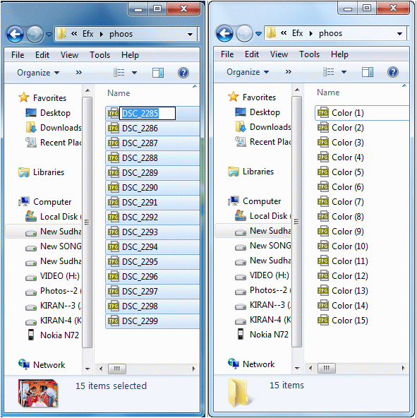 Multiple file renaming in windows explorer