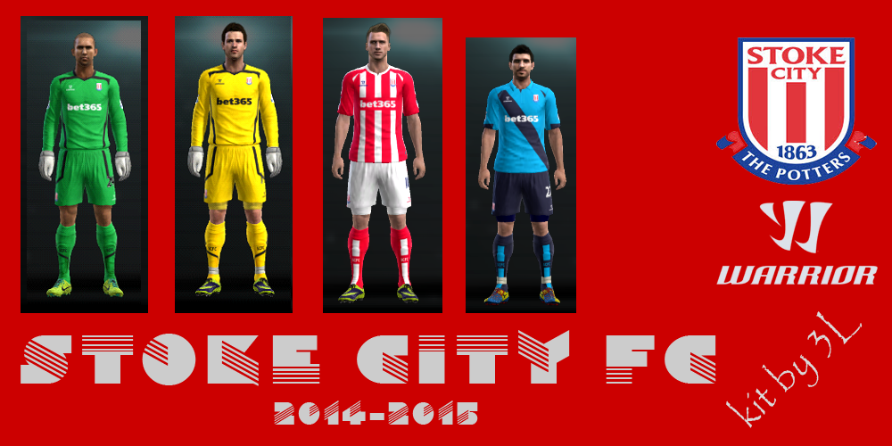 PES 2013 kit set Stoke City uniformes 2014/2015