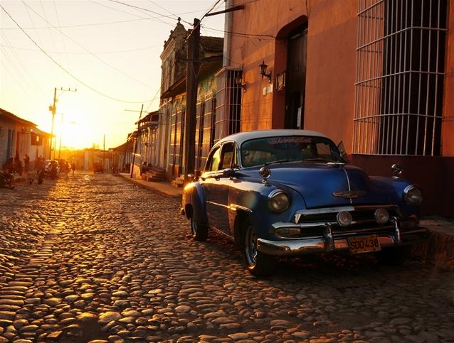 coche, cuba, Trinidad, calle empedrada