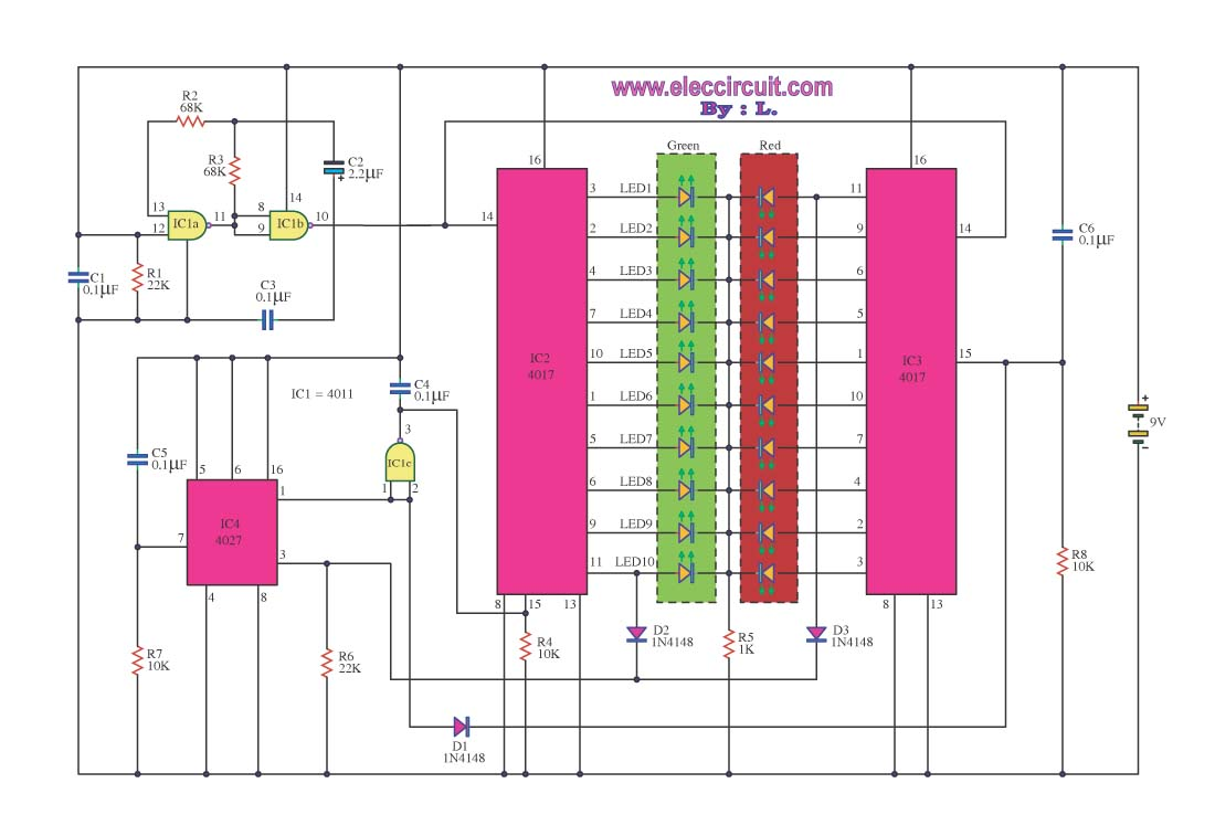 Electronic Circuits Schematics Diagram Free Electronics Projects Two Tone Alarm Generator Using Lm3900 Led Light Bar Scan Back And Forth Color Circuit With Explanation