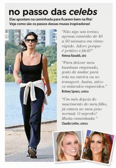 Helena Ranaldi, Britney Spears e Claudia Leite, usam a caminhada para deixar o corpo nas medidas certas