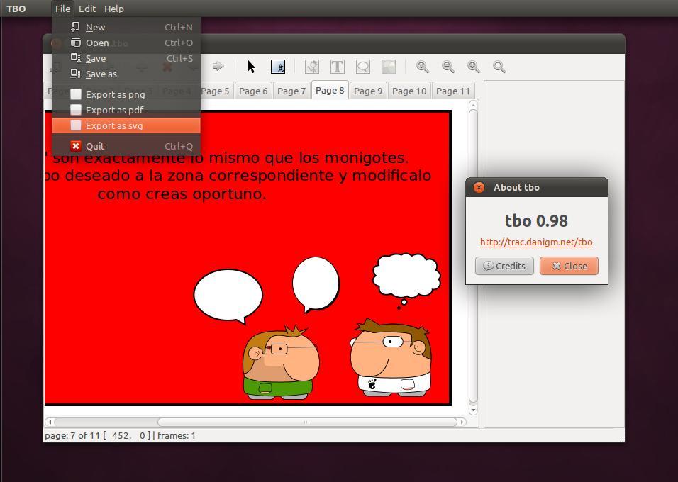 TBO Gnome Comic Creator di Ubuntu 11.04
