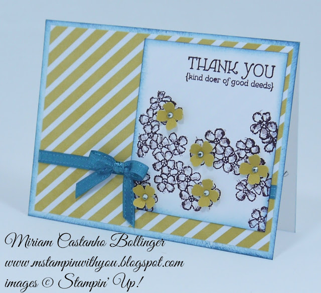 Miriam Castanho Bollinger, #mstampinwithyou, stampin up, demonstrator, dsc, lullaby dsp, birthday blossoms stamp set, lots of thanks, thank you, itty bitty accents punch, su