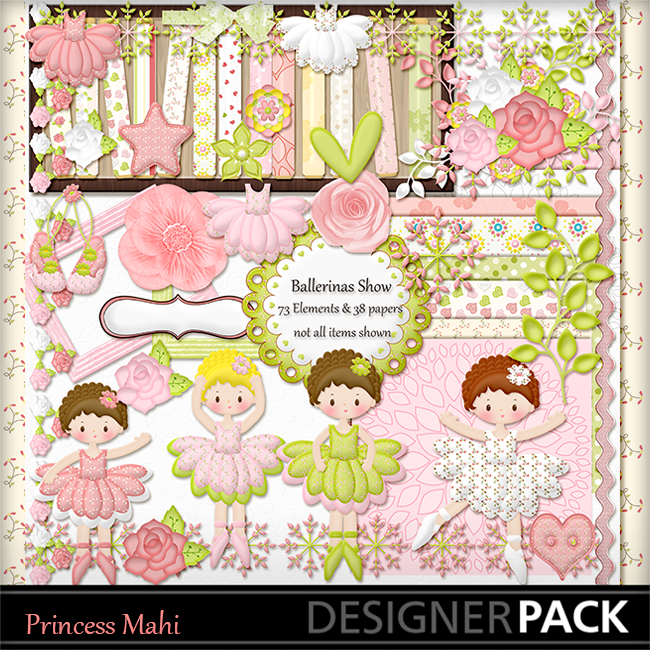 """Ballerina Show"" digital scrapbooking kit"
