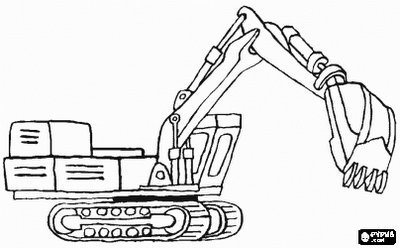 excavator coloring page - drawing tractor backhoe and excavator coloring