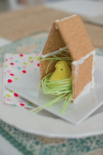 Peeps graham cracker house with edible grass