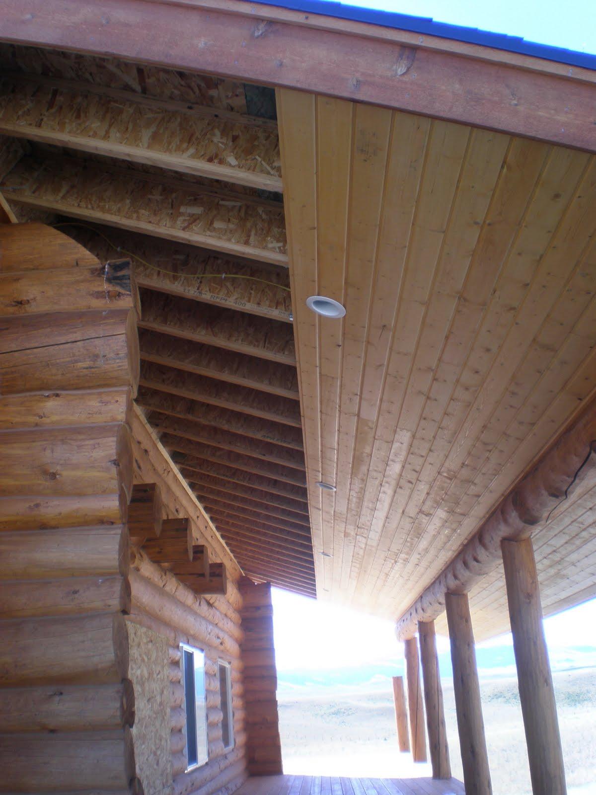 cabin fever log home building deck soffit progress august 23 2011