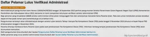 Pengumuman CPNS Kemdikbud 2013: Daftar Pelamar Lulus Verifikasi Administrasi