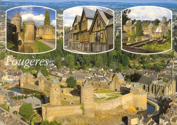 multiview postcard showing the medieval castle, the old town houses and the ramparts