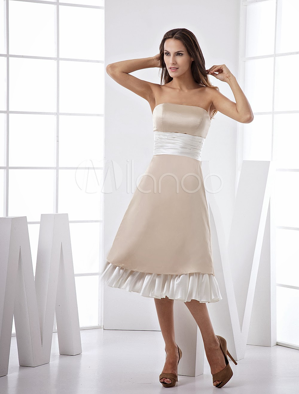 China Wholesale Dresses - Fabulous Strapless Sash Ruffles Satin Prom Dress