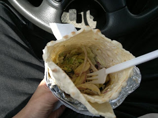 I was hungry so I got some kebab food. Eating in the car.