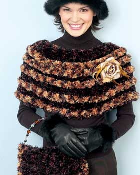 ridged capelet purse knit basketweave cape knit cape cloche crochet