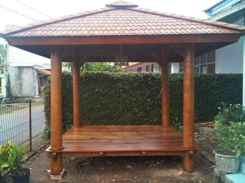 Desain saung gazebo | saung bambu dan saung kayu kelapa | atap sirap, alang-alang dan genting | jasa pembuatan saung dan taman
