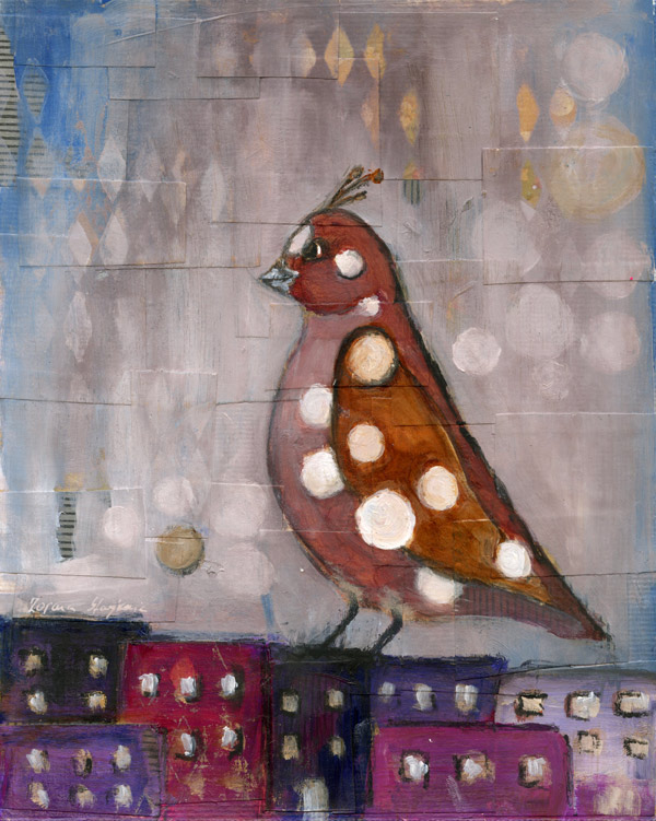 painting bird polka dots acrylic city scape