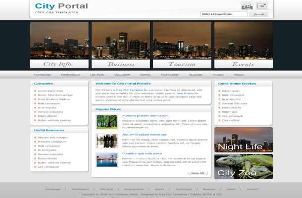 Free CSS City Night Travel HTML Website Template