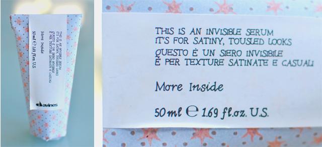 Davines More Inside Invisible Serum är ett osynligt serum som ger bebismjukt hår, motverkar friss mm