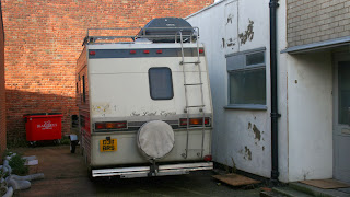 Julian and trailer in their temporary storage
