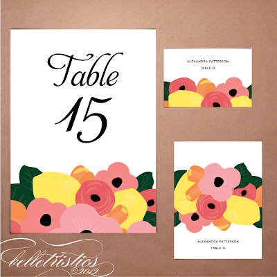 printable diy floral citrus hand drawn wedding reception table number escort card template