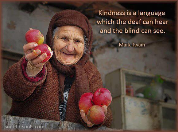 Kindness is a language which is the deaf  can hear and the blind can see.